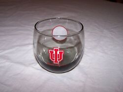 Vintage IU INDIANA UNIVERSITY Cocktail On the Rocks w Smoke Colored Glass $15.00