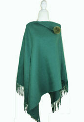 Wool Cashmere Poncho Wrap Cape Stole with Fur Pompom (Green)