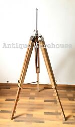 Teak Wooden Modern Floor Shade Lamp Tripod Stand Bedroom Conner Decorative $87.50