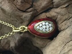 victor Mayer (Faberge workmaster) A Diamond Egg pendant on a 9ct gold chain