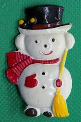 Vintage Metal Snowman with Ear Muffs Hat Scarf Mittens & Broom Pin Brooch