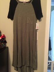 lulaRoe Olive Green With Black Sleeves Carly Size Xs NWT SOFT