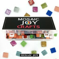 Mosaic Tiles for DIY Crafts 430 Pcs Assorted Color Square Glitter Glass Supply