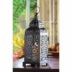 Lot of 6 Exotic Matte Black Iron Moroccan Style Tower Candle Lanterns w Cutouts