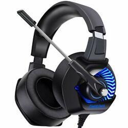 ONIKUMA K6 Pro LED Gaming Headset for PS4 Xbox One PC Nintendo Switch (Blue)