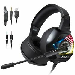 ONIKUMA RGB LED Gaming Headset Playstation 4 PS4 Xbox One PC Nintendo Switch