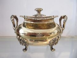 Magnificent rare french gilded sterling silver large sugar bowl Duke coat of arm