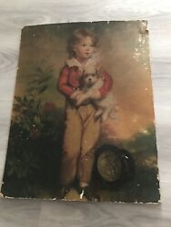 Girl with Dog English Painting Canvas Oil  Antique 1900's Generation Era