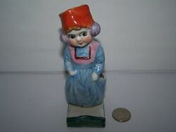 VINTAGE 1940S JAPAN PORCELAIN FIGURAL TOOTHBRUSH HOLDER GIRL WEARING EAR MUFFS