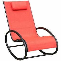 Patio Aluminum Chaise Lounges Zero Gravity Chair Orbital Rocking With Pillow 250