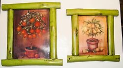 Two 2 Framed Hanging Pictures Colorful Pear and Orange Garden Topiary Art $20.00