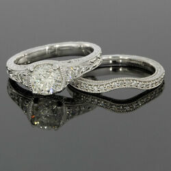 White Gold 1.32ct Round Diamond Vintage Engagement Ring MSRP: $4500