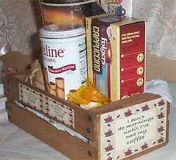 Gift Basket Small Crate Mug Coffee Candy Hot Cocoa Wood Crate don#x27;t do morning $19.99