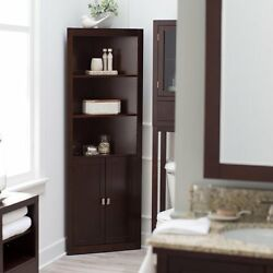 3 Shelf Corner Brown Linen Tower Cabinet Home Living Bathroom Storage Furniture