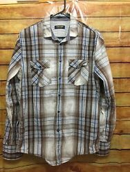 Zara Young Size L Plaid 100% Cotton Brown Blue whIte Teens Men's Shirt SEE* $10.00