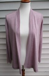 LOVELY Eileen Fisher LILAC Open Front Merino Wool CARDIGAN Sweater L $248