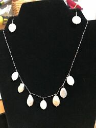 Pink & White Baroque Freshwater Pearl Necklace and Coin Pearl Earrings Sterling