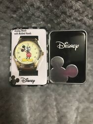 Disney Mickey Mouse Mens Round Imitation Gold And Brown Watch Faux Leather