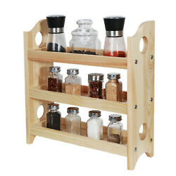 3-Tier Wall-Mounted Wooden Spice Rack Bathroom Kitchen Dining Countertop Home.