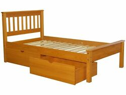 Bedz King Mission Style Twin Bed with 2 Under Bed Drawers in Honey