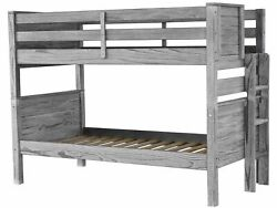 Bedz King Bunk Beds Twin over Twin with End Ladder Rustic Gray