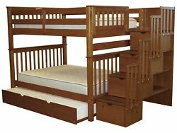 Bedz King Bunk Beds Full over Full Stairway 4 Drawers Full Trundle Espresso
