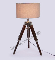 Modern Bedroom Conner Desktop Floor Shade Lamp Wooden Tripod Stand Decorative $39.00