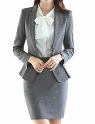 MFrannie Women#x27;s Business Office OL Blazer Jacket and Skirt Suit Set Size XS $45.24