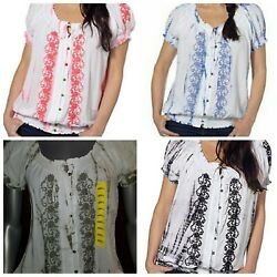 Fever Short Sleeve Peasant Bohemian Top Shirt VARIETY $10.49