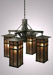 4 Light San Carlos Chandelier Fixture. Old Iron Finish Steel W White Mica Shade