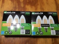 6 pack LED Light Bulb 40W Equivalent C12  Candelabra Dimmable $10.99