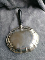Vintage Silver Plated Silent Butler Crumb Tray Nice Patina Wood Handle