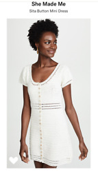 NWT She Made Me White Sita Crochet Button Up Dress M