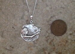 Sterling silver mermaid lady picture bird ocean 18quot; pendant vintage button charm $140.21