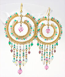 STUNNING Light Pastel Multicolor Crystals Gold Chandelier Earrings Gypsy Boho $26.39