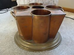 Vtg 4 Bottle Wine Beer Cooler Champagne Bucket Copper and Brass Global View