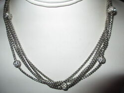 NECKLACE MULTISTRAND CONTEMPORARY WITH CRYSTAL BALL ACCENTS SILVER TONE MAGNETIC $19.00