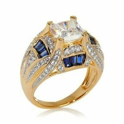 hsn Victoria Wieck 3.95 CT Simulated Diamond and Created Blue Sapphire Dome Ring