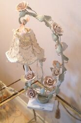 Italian Tole Rose Marble Regency French Lamp Price Reduced $175.00