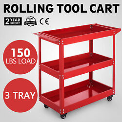 3-Tray Rolling  Storage Utility Tool Cart wWheels Durability Workshop Garage