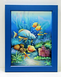 Exotic Butterfly Fish Tang 12 x 16 Art Oil Painting on Canvas w Blue Wood Frame