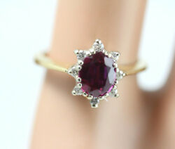 Antique 14k Gold Ring w Diamond Burst Ruby. Over 1 Carat. VictorianEdwardian