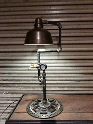handmade rustic lamp made from steel pipe $225.00