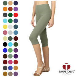 Womens Capri Leggings Knee Basic Cotton Spandex Stretch Pants Elastic High Waist