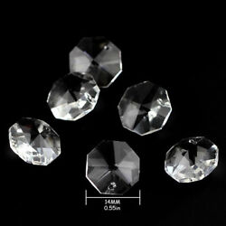 500pcs lot 14MM Octagons 1 Hole Glass Beads Crystal Chandelier Parts Decoration $30.83