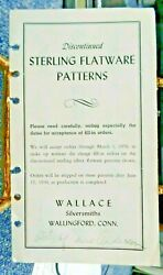Discontinued Wallace Sterling Flatware Patterns 1950 Order Form Carsons Chicago $17.99