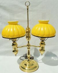 Large AntiqueVtg Yellow Cased Ribbed Glass Brass Double Student Desk Table Lamp