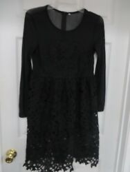 SHE IN Laced Mesh Long sleeve Lined Black Dress  S  Cute! NWOT