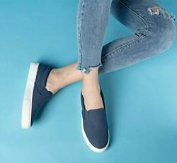 Women#x27;s Sneakers Perforated Slip On Flats Comfortable Walking Blue Shoes Navy US $15.99