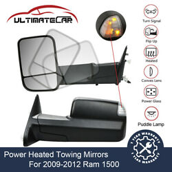 Pair Power Heated Signal Towing Mirrors For 2009-2012 Ram 1500 W Puddle Lamp $130.68